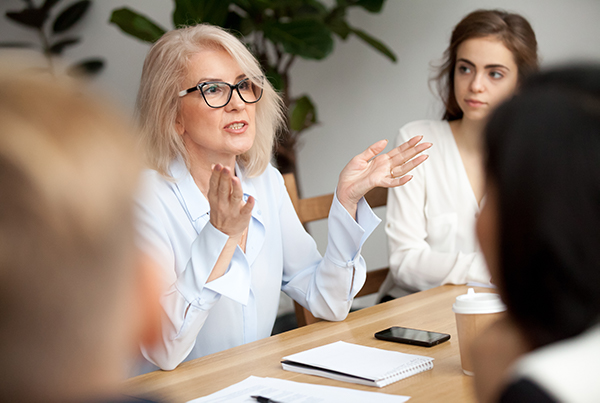 Woman talking in meeting